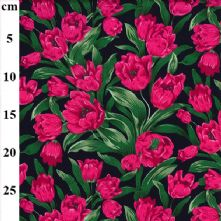 100% Cotton Navy Blue Cerise Pink Tulip Floral Print Fabric x 0.5m